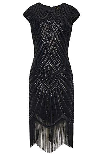 BABEYOND Damen Kleid voller Pailletten 20er Stil Runder Ausschnitt Inspiriert von Great Gatsby Kostüm Kleid (Schwarz, XXXL (Fits 96-100 cm Waist)) (Schwarzen Kleid Halloween-kostüm)