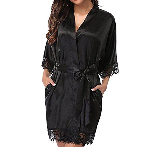 Lenfesh Batas Largas Kimono para Mujer Lenceria Ropa de Dormir Camisón de Encaje S, Negro