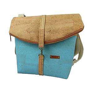LeKo-Design -Rucksack aus Kork, verwandelbar, Natur, türkis