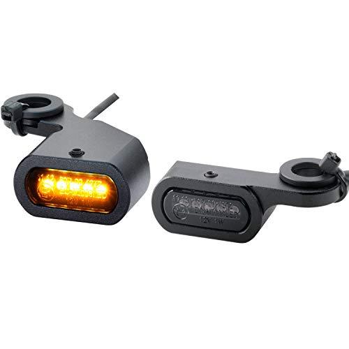 Motorrad LED Mini Blinker für Harley Davidson Lenker Armatur Lenkerblinker schwarz smoke getönt