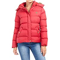 CHOCOLATE PICKLE New Womens Brave Soul Contrast Faux Fur Trim Hooded Puffer Hop Jacket Quilted Winter Coat Red 12