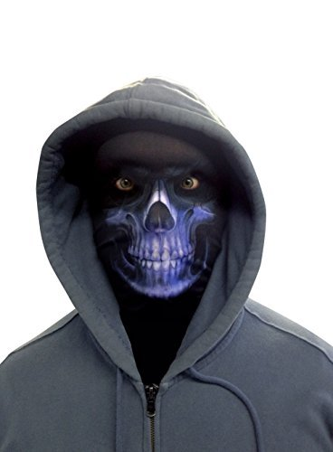 (L&S PRINTS FOAM DESIGNS Halloween Blau Sensenmann Novelty Fun Stoff Face Maske Design Snood Gesichtsmaske hergestellt in Yorkshire)