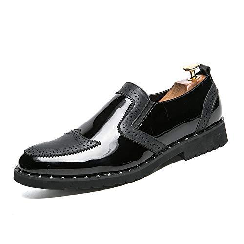 Xiaojuan-shoes, moda casual da uomo classico scarpe da ballo in pelle verniciata vintage patchwork oxford,scarpe uomo pelle (color : nero, dimensione : 44 eu)