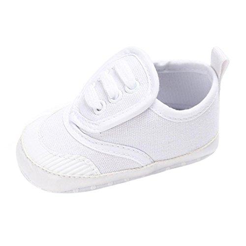 BZLine® Baby Schuhe junge Mädchen newborn Krippe Soft Sole Sneakers Weiß