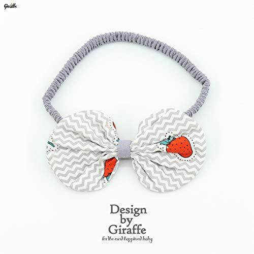 Schmetterlingsknoten Kopfschmuck Haarband Elastizität von 0-3 Jahre alten Tuch, graue Erdbeere