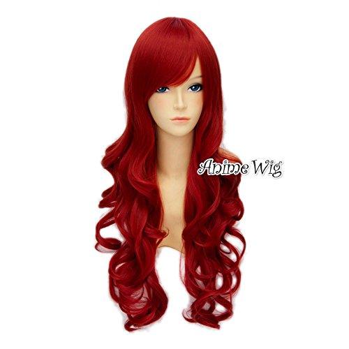 Top Cosplay Lolita Lange 70CM rote gelockte Damen-Mode-Partei-Kostüm Cosplay (Kostüme Für Kostenlose Halloween Erwachsene)