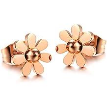 Infinite U de tamtam design diseño de margaritas postes de Juego de pendientes de acero inoxidable de oro rosa y cristales para mujer (incluye bolsa de regalo)