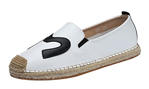 fq-real-balck-friday-womens-daily-casual-cap-toed-elastic-slip-on-flat-pu-loafer-5-ukwhite