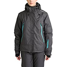 Ultrasport Mel - Giacca da sci o snowboard donna con tecnologia Ultraflow 10.000 - Giubbotto termico per outdoor e sport invernali con cappuccio, grigio/blu, XL