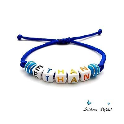 Bracelet personnalisé ETHAN avec prénom, message, logo, surnom (réversible) pour homme, femme, enfant, bebe, nouveau-né