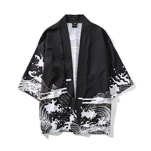 Schimer Chaqueta Japonesa Happi Kimono Haori para Hombre Chaquetas transicionales, Abrigo Unisex Kimono...