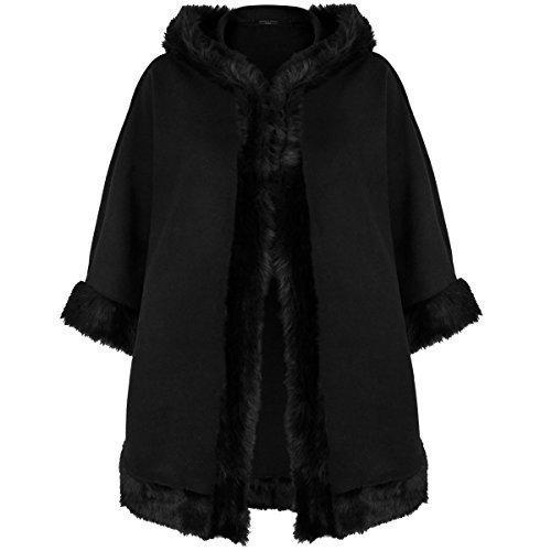 Fashion Thirsty - Damen Frauen Fell Umhang Mantel Jacke Poncho Mit Kapuze Winter Warm Duffle Kragen Schal - Einheitsgröße, Schwarz
