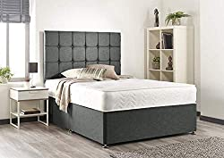 Grey Linen Memory Foam Divan Bed Set With Mattress, Headboard And 2 Free Drawers (Double)