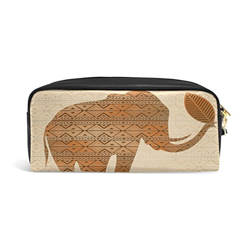 Art Leder Reißverschluss Federmäppchen Pen Stationäre Bag Kosmetik Make-up Bag Tasche Geldbörse (Tribal-make-up)