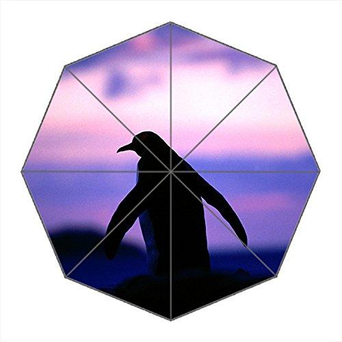 Travel umbralla-windproof KOMPAKT Regenschirme tragbar faltbar mit verstärkter Rahmen, 8Rippen & 3Aluminium, Custom Wasserdicht Stoff Regen und Sonnenschirm für Damen und Herren, Pinguin