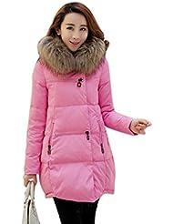 vlunt Mujer larga Abrigo Chaqueta De Plumón Plumas abrigo chaqueta acolchada con capucha chaqueta de plumón piel Parka largo
