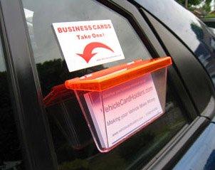 Fahrzeug-Visitenkarten-Box, Befestigung an der Außenseite, transparent mit orangefarbenem Deckel
