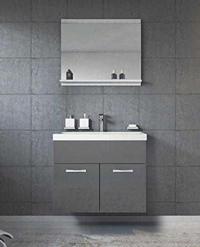 Badezimmer Badmöbel Set Montreal 02 60cm Waschbecken Hochglanz Grau Fronten - Unterschrank Waschtisch Spiegel Möbel