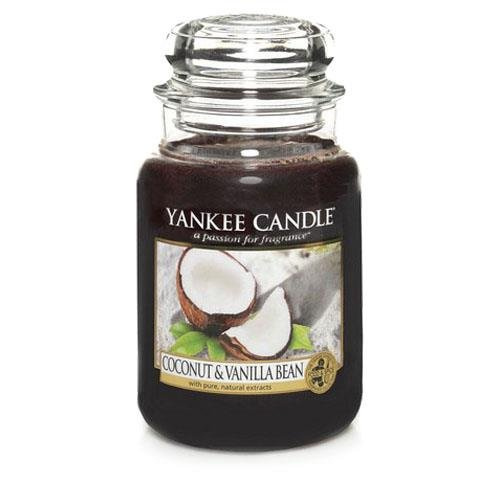 YANKEE CANDLE Coconut & Vanilla Bean Kerze, Glass, Czarny, L - Yankee Candle Coconut