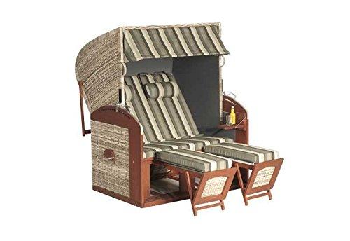 Sunny Smart Strandkorb Rustikal 300 Z Stoff-Nr. 1197, Liegemodell Außenmaß (B x T): 135 x 98 cm Gesamthöhe: 160 cm Geflecht: Kunststoffgeflecht natur Ausführung: Liegemodell Stoff: Nr. 1197 gestreift