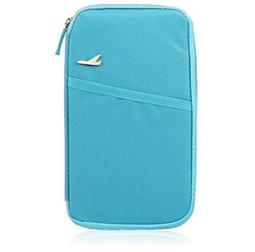 Cartera de Viaje, Organizador Bolsa Funda de Nylon con Cremallera para Documento Pasaporte Billete Tarjeta Unisex, Azul