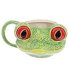 Idea Regalo - Tazza mug colazione in ceramica a forma di testa di rana con occhi grandi