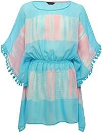 M&Co Teen Girl Crinkle Crepe Blue and Pink Tie Dye Print Batwing Sleeve Tassel Trim Kaftan Dress