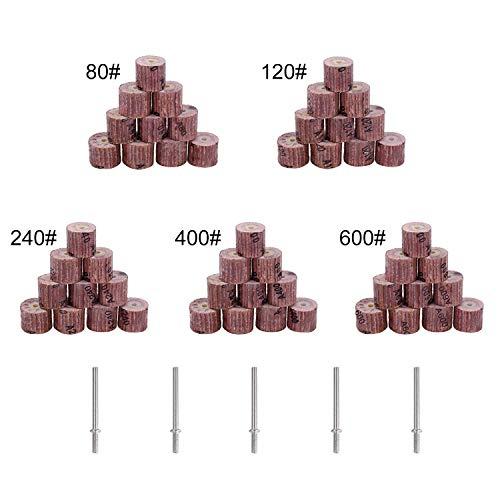 50Pcs 5 Verschiedene Schleifscheibenschleifscheibenschleifer - GOXAWEE Schleifklappen-Polierscheiben-Zubehör mit 5pcs 3mm-Spannfuttern für Drehwerkzeuge, Grinta 80 120 240 400 600