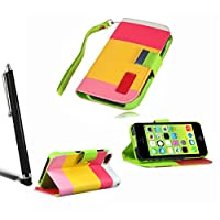iPhone 5C Multi Colour Wallet Leather Stand Case Pouch Cover