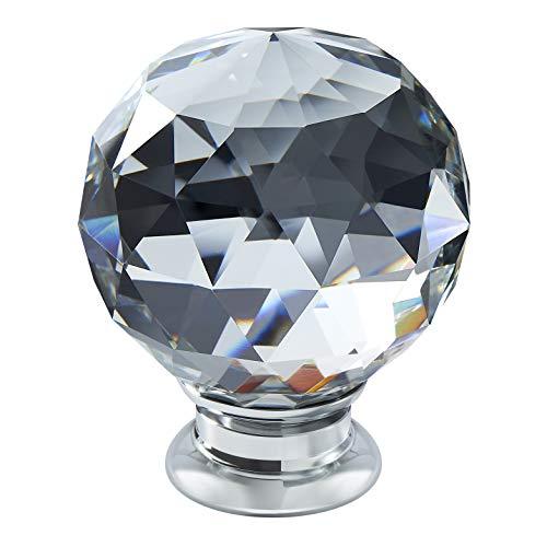 2 x TEZ® Lily40 Kristall Pull Knöpfe Griffe - 40 mm Kristall dia - Klar Facet Kristallglas - Chrom Boden - Verkauft als 2 Stück kristall Knöpfe - Superior Qualität - Marken - Garantiert. -