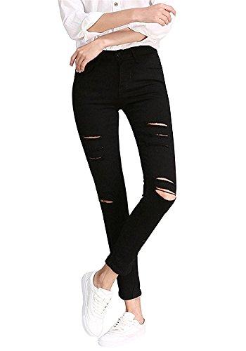 Minetom donna primavera autunno stretch slim fit strappato skinny denim causal ragazze trousers pants elastico alta vita pantaloni nero it 42(vita 66-70 cm)