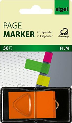 SIGEL HN483 Marcapáginas, cinta de filme transparente y adhesivos en repartidor Z, funda de 50 tiras de 45 x 25 mm, naranja neón