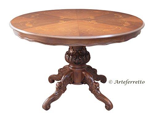 Artigiani veneti riuniti tavolo rotondo intarsiato allunga 120-158 cm