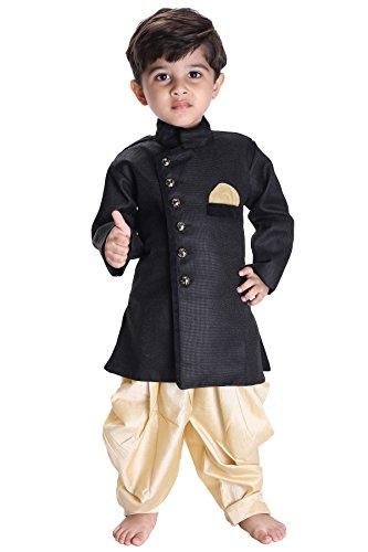 JBN Creation Kids Biker Jacket Look Indowester Sherwani Suit Dress with Patiala Style Cowl Dhoti Pant For Boys (Color: Black & Gold)