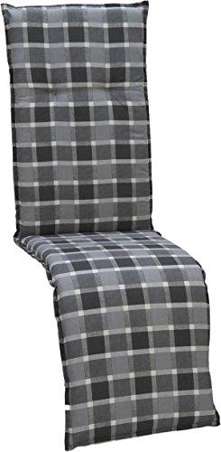 beo Gartenstuhlauflagen Saumauflage für Relaxstühle Karo, circa 47 x 168 cm, grau/schwarz /...