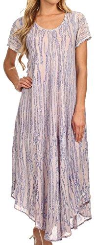 Sakkas 14802- Faye Kappe Ärmeln Baumwolle Kaftan Vertuschung-Kleid- lila-One Size (Ärmel Kaftan)