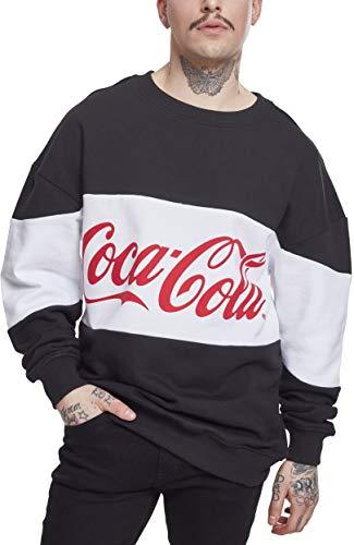 MERCHCODE Herren Coca Cola Stripe Oversize Crewneck, Black, L (Coca-cola Herren)
