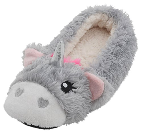 SlumberzzZ Ladies 3D Coral Fleece Unicorn Ballet Slippers