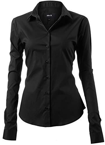 HARRMS Damen Bluse Basic Hemd Workwear Slim Fit Langarm Baumwolle Einfarbig Plain Für Anzug Business Arbeit mit Brusttasche Bügelleicht/Bügelfrei - Schwarz - 42 (Hersteller  14)