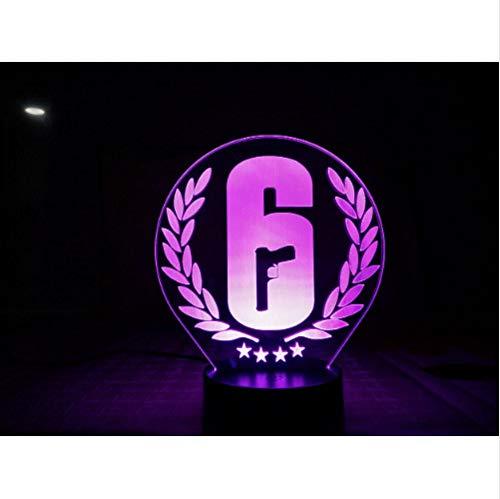 3D Illusion Nachtlampe Rainbow Six Siege Nachtlicht Led Touch Sensor Kind Kinder Geschenk Fps Spieltischlampe -