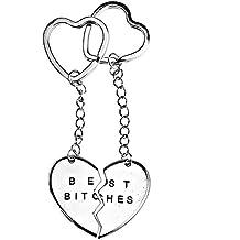 2pcs mejor Bitches Split grabado corazón llavero llavero amigos colgante de regalo, oro/plata