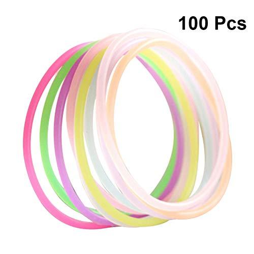 STOBOK Regenbogen Armbänder Flashing Schmuck Geburtstag Weihnachtsfeier Geschenke 100 Stück (zufällige Farbe)