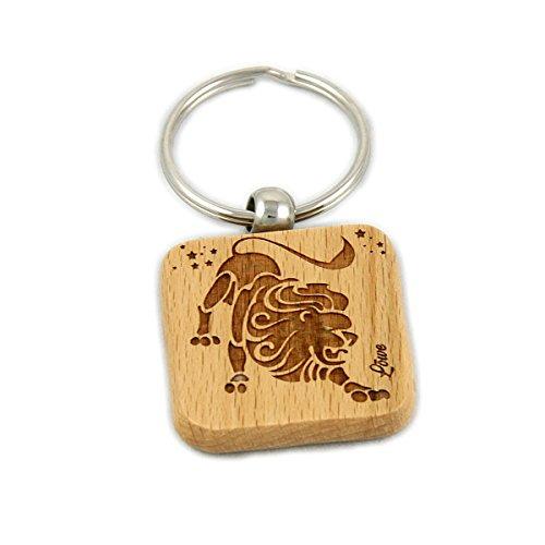 Sternzeichen-Schlüsselanhänger aus Natur-Holz mit hochwertiger Gravur inkl. Stabilem Schlüsselring - Löwe -