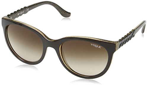 Vogue Gradient Rectangular Sunglasses (0VO2915S225913Medium) (Top Brown and Glitter Brown) image