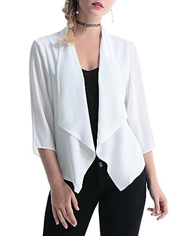 Abollria Women's Casual 3/4 Sleeve Open Front Short Blazer Cardigan (X-Large, White)