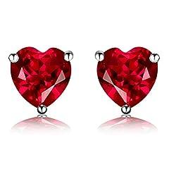 Idea Regalo - Navachi, orecchini a perno in argento sterling 925placcato in oro bianco 18kt, con rubino o smeraldo a forma di cuore da 3.0 carati e Placcato oro, colore: Red, cod. SIL-9132-1