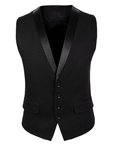Hombres Traje De Vestir Sin Mangas De Los De Negocios Blazers Casual Slim Fit Chalecos Negro L