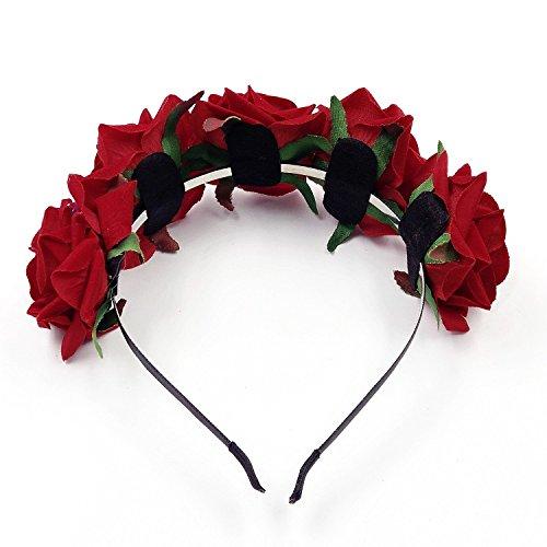 JZK Cerchietto rose rosse capelli fascia fiori per bambina donna per Dia De Los  muertos Halloween matrimonio damigella d onore sposa corona fiore f1ee868adf54