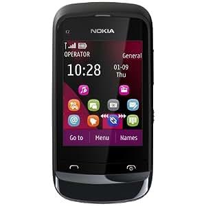 Nokia C2-02 Smartphone (6,6 cm (2,6 Zoll) Touchscreen, 2 Megapixel Kamera, Bluetooth) chrome schwarz