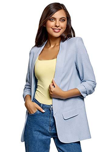 b378f3d80f oodji Ultra Damen Verschlussloser Blazer mit 3/4-Armeln, Blau, DE 40 / EU  42 / L
